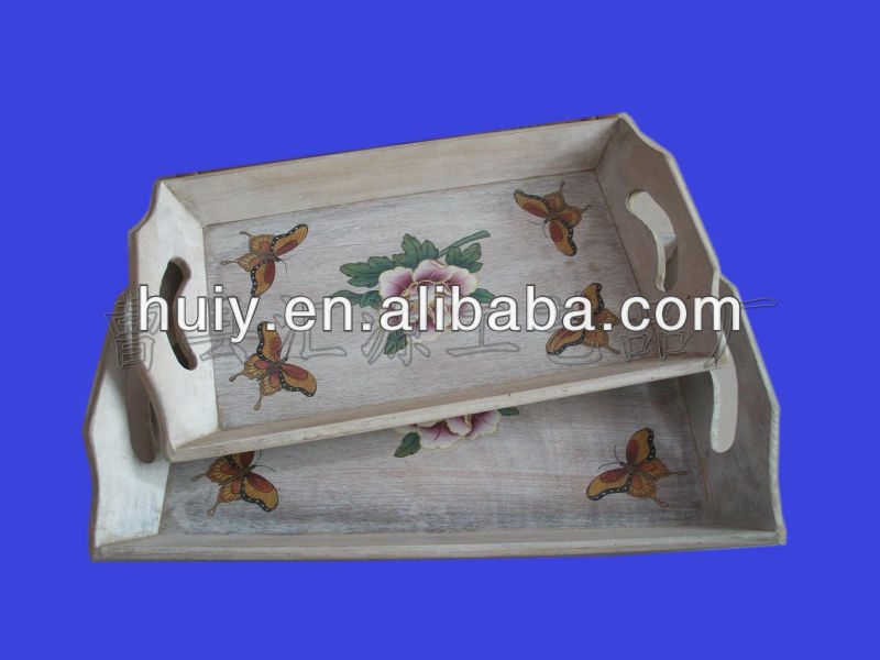 unfinished transfer printing wooden tray for food and serving