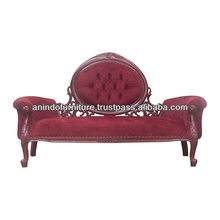 Mahogany Oval Back Rest Sofa on Top with Upholstered