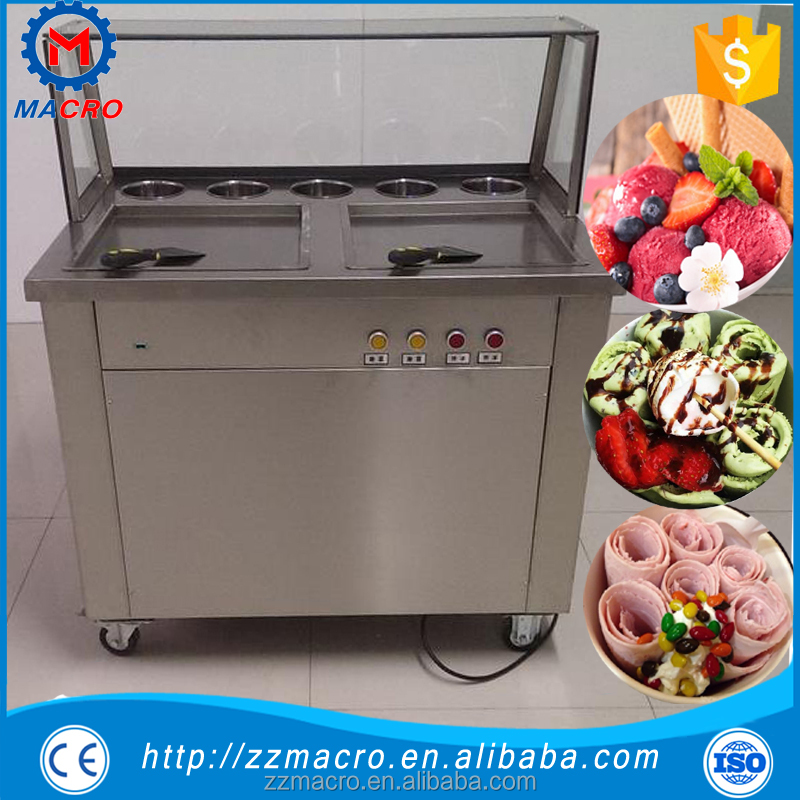 single pan 6 pre-cooing buckets instant fried ice cream roll machine