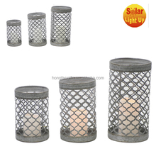 Outdoor hanging metal battery powered lanterns