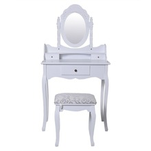 Hand Carved Girl Wooden Rotating Wrought Iron Dressing Table