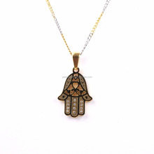 fashion gold stainless steel hamsa hand necklace 2018