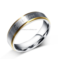 18K Gold Women Titanium Steel Engraved Forever Love Hand Ring With Heart