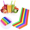 reusable silicone drinking straws stainless steel straw with nylon cleaning brush