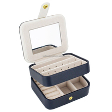 Portable Travel Jewelry Box Organizer Earring Ring Holder Necklace Storage Case with Mirror