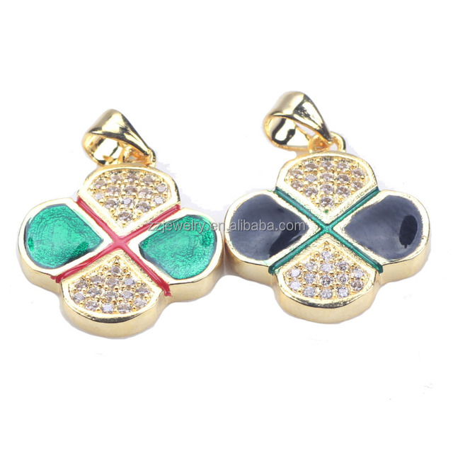 Delicate Gold Plating And Enamel Silver Clover Pendant