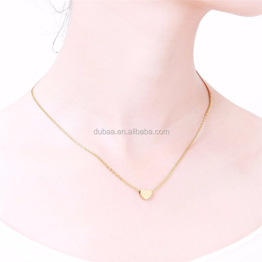 Ethnic Tiny Heart Necklace Gold Color Choker Fashion Women Lovely Valentine Gift Statement Romantic Peach Heart Jewelry