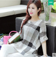 Linen loose big yards female plaid shirt Slim round neck cotton t-shirt blouses Gilrl Apparel T-Shirts