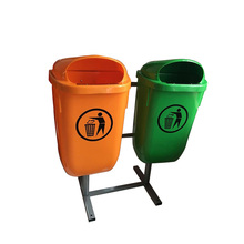 Recycle plastic movable garbage twins waste bin for sale