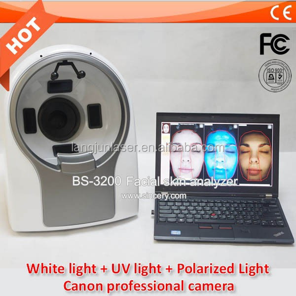 Newest 3D portable face skin analysis beauty machine with English and Spanish version software