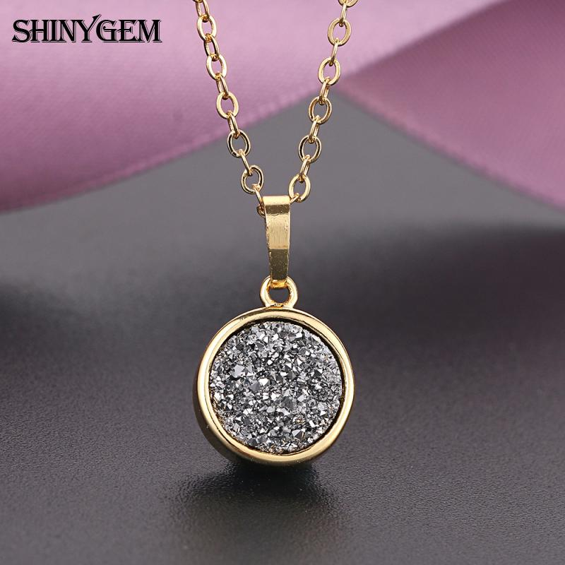 Fashion long chain round shape crystal charm costume jewelry druzy stone jewellery pendant necklace for women and girls