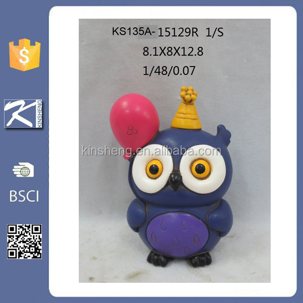 Arts And Crafts Home Decor Yellow Color Cute Resin Owl For
