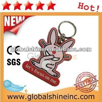 high quality fashion warning words soft pvc key chain
