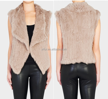 YR827 New Fashion Short Style Women Real Rabbit Kintted Fur Vest