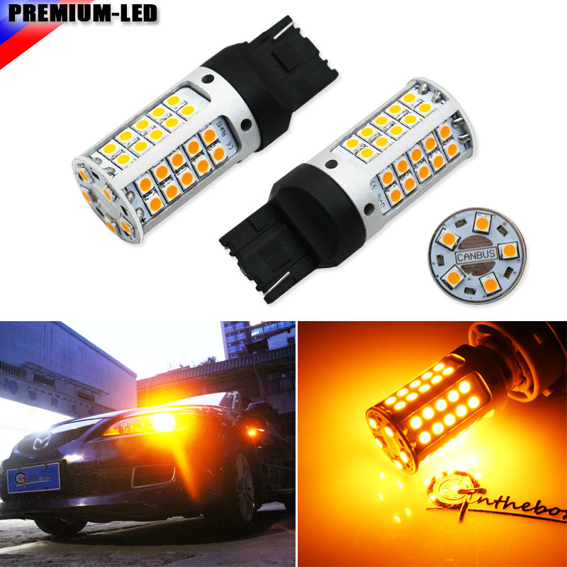 CANBUS 12V 21W High Power Amber 7440 W21W T20 LED Bulbs For Car Front or Rear Turn Signal Lights