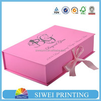 Made in China Guangzhou Factory Logo Printed Custom Cheap gift paper box/ jewelry box with ribbon for packaging