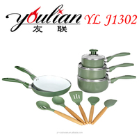 2015 For Uk market kitchenware untensil tools Aluminum high quality health green ceramic nonstick cookware set