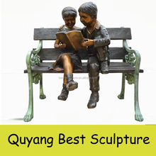 Outdoor Decorative Life Size Girl and Boy Reading on Bench Garden Bronze Sculpture