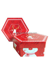 hexagon paper decoration Christmas gift box with lid