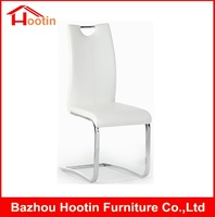 Modern Design High Quality Italian Leather Cheap Metal Chrome Banquet Kitchen Used White Leather Dining Chair