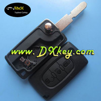 3 buttons flip key cover for car key peugeot peugeot 406 remote key with battery clamp and light button CE0536