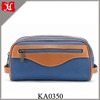 Men's Classic Kit Pouch Canvas Washbag with Leather Trim in Denim Blue