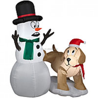 CHRISTMAS INFLATABLE SNOWMAN AND DOG OUTDOOR HOLIDAY YARD DECORATION