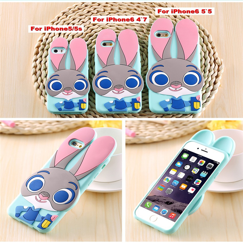New Arrival Cartoon Rabbit Ear Bumper Soft Silicon Phone Cover Case For 6 6s 4.7and plus 5.5 Case Cute Cartoon Frame