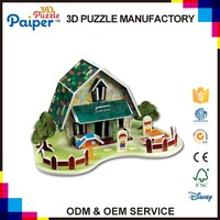 Educational 3d puzzle diy paper house model toy