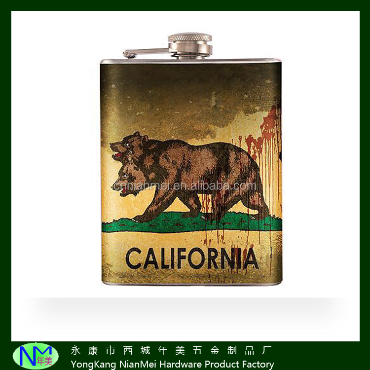6oz stainless steel products used in home water transfer classic picture logo of hip flask