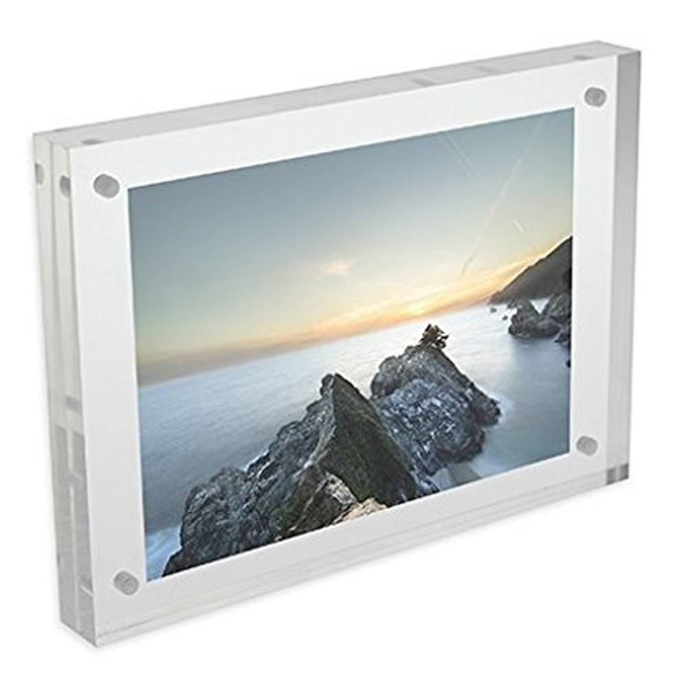 4 x 6 Clear Acrylic Magnetic Block Sign Holder, Customized Size Acrylic Magnetic Photo Block Picture Frame
