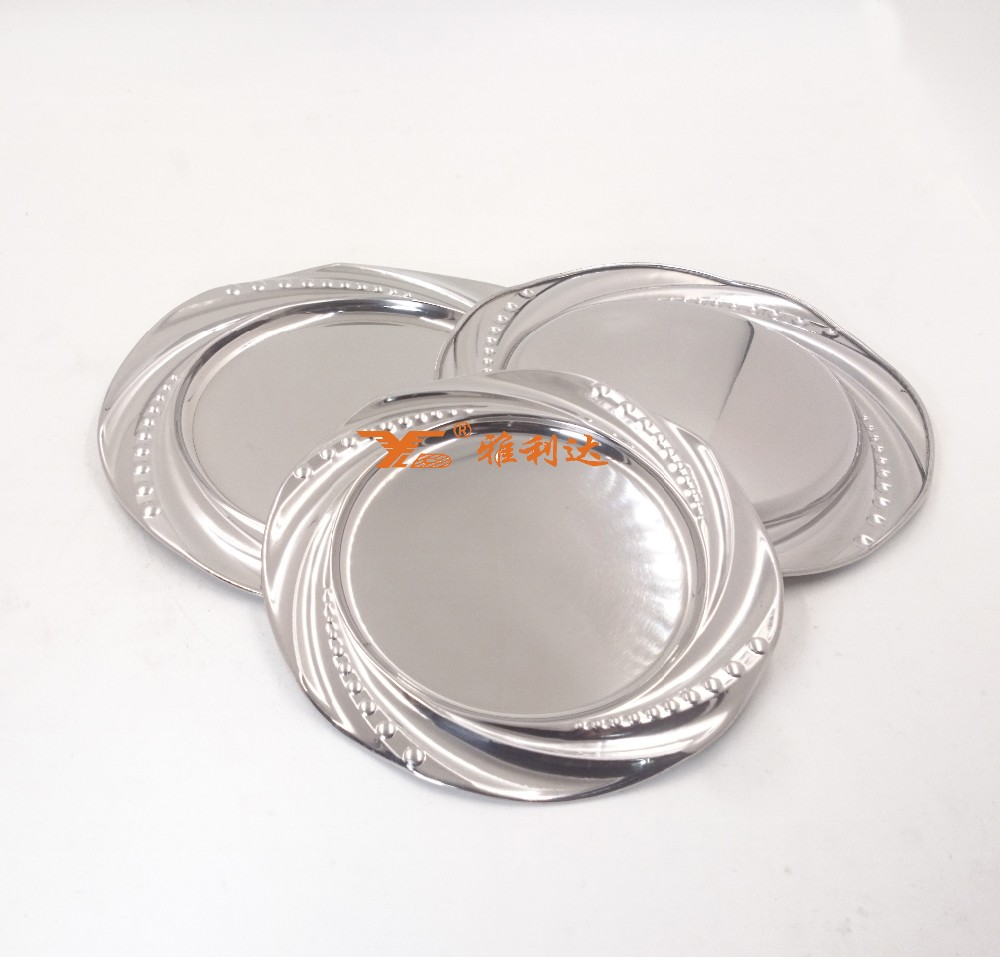 High quality cheap silver stainless steel flower patterm Rim Round Charger Plate