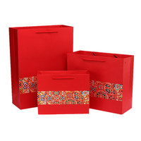 Red custom wedding favor shopping packing printed paper gift bag