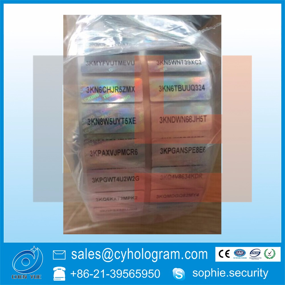 2d hologram sticker with serial number in roll format