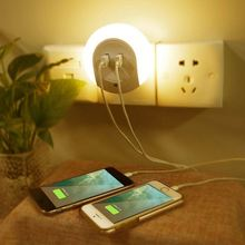NEW Design Dual USB Charger Outlet port lamp / Wall Plate LED Night Lights With No Batteries Or Wires