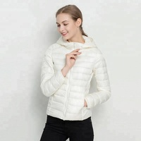 Clothing Wholesales Women Zipper Ultra Light Breathable Down Jacket With Hood For Ladies