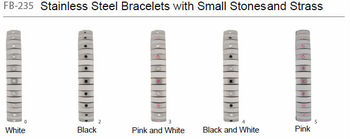 Stainless steel bracelets with small stones and strass