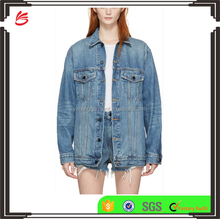 Oversized Fit Fading and Distressing Women Jeans Jacket Made of 100% Cotton Denim