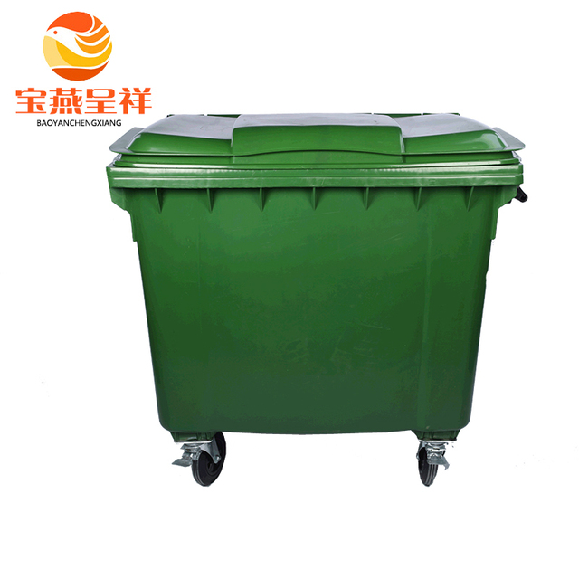 1100L free OEM logo print factory sell green color recycle rubbish bin