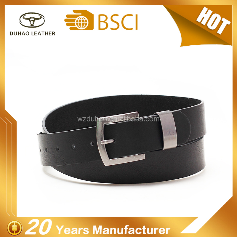 Custom Fashion Black Pin Buckle Fake Leather Belt For Men