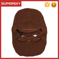 C990 Hot sale crochet beard beanie knitted beard face mask beanie hat