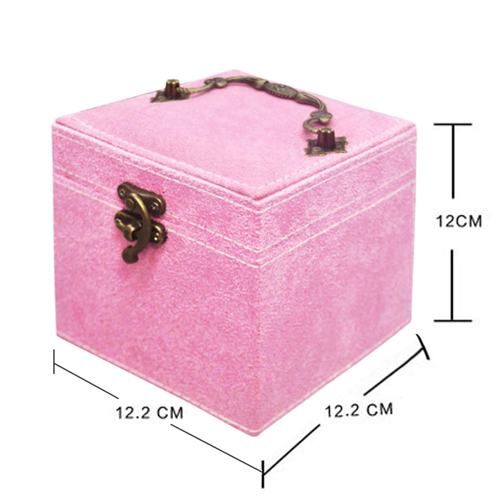 Wholesale OEM Logo Cheap Price 3 Layer Velvet Travel Organizer Small Display Jewelry Box with Metal Handle