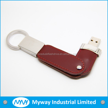 logo engraving leather usb key / usb pendrive leather/ leather usb gadget with key ring