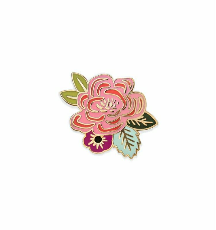 Wholesale customized hard enamel badge gift flower lapel pin With backcard
