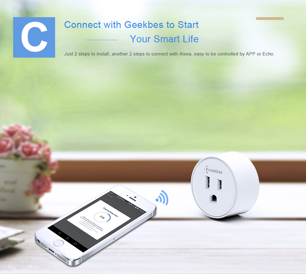 Geekbes YM-WS-1 Smart Socket WiFi Mini Plug APP Remote Control Timing Socket Works with Alexa
