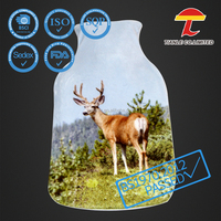 Stag pattern printing fleece cover for 1L or 2L rubber hot water bottle