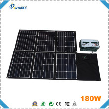 Tent solar panel foldable power kit 180W for big battery and vedio/camera with dual voltage controller
