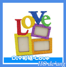 Hogift Art Decor 3 Boxes Handmade Irregular Family DIY Photo Frame 2015 Hollow Love Wooden Picture Frame
