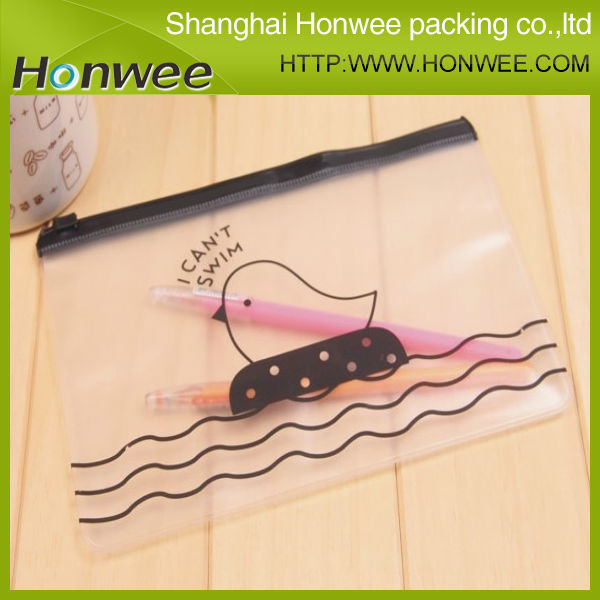 hot sale fashional clear pvc plastic printing kids pencil pouch