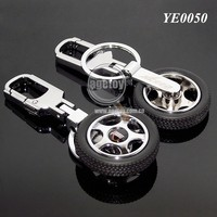 3D Mini Tyre Shaped Customized Metal Rubber Tyre Key Chain